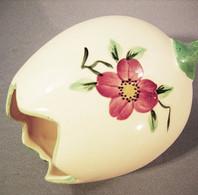 ~ OEUF EN CERAMIQUE PERLAM - Bouquet Fleur Faïence Poule Vase - Eieren