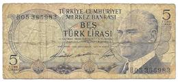 TURCHIA   BANCONOTA  5  LIRASI  Del 1968 - Turchia