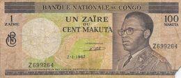 Billet Banque Nationale Du Congo - Un Zaïre Ou Cent Makuta - 2-1-1967 - Alphabet Z 699264 - Congo