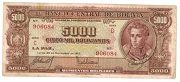 Bolivia 5000 Bs. 1945, VF. Free Ship. To USA. - Bolivia