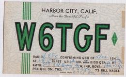 6AI4880 CARTE QSL Radio Amateur HARBOR CITY CALIFORNIA 1948  2 SCANS - Radio Amateur