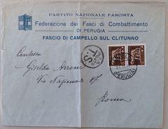 LETTERA 1933 FEDERAZIONE DEI FASCI CAMPELLO SUL CLITUNNO (PIEGA CENTRALE) (103L - 1900-44 Victor Emmanuel III.