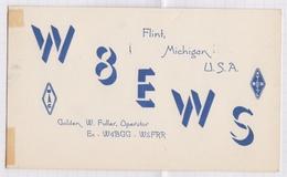 6AI4892 CARTE QSL Radio Amateur FLINT MICHIGAN1947  2 SCANS - Radio Amateur