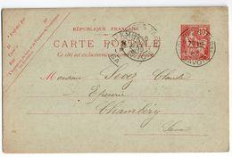 Entier-Carte Postale N°124 MOUCHON RETOUCHE (n°332)--cachet  MOUTIERS-73 Et CHAMBERY -73 - Entiers Postaux