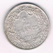 2 FRANCS 1911 FR  BELGIE /214B/