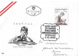 WIEN 101 →  20 Jahre TAG DER BRIEFMARKE Ersttag 3.12.1955 Nach Bern/Schweiz - FDC