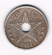 20 CENTIMES 1911 BELGISCH CONGO /216B/