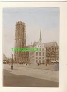 "MECHELEN MALINES Zeldzame Albumine Foto "" MARKT EN KERK "" Rond 1900-1910  Trenkler & Co - Lieux"