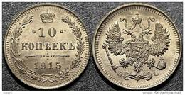 "Russia Silver 10 Kopeek 1915 Year - "" BC ""   XF - Russie"