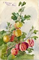 Illustrateur - Signée Jeanne JacquoL - Aquarelle - Feuilles De Grosses Groseilles - Watercolours