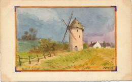 Illustrateur - E. Evrard - Aquarelle - Paysage De Campagne - Le Moulin à Vent - Aquarelles