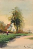 Illustrateur - Haaq - Aquarelle - Paysage Hollandais - Datée 1908 - Acquarelli