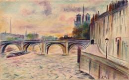 Illustrateur - A.Malfaire - Aquarelle - Pont De La Tournelle à Paris - Watercolours