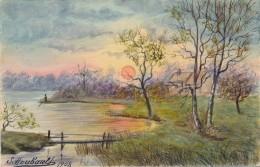Illustrateur - S. Houbault - Aquarelle Et Gouache - Paysage - Datée 1908 - Aquarelles