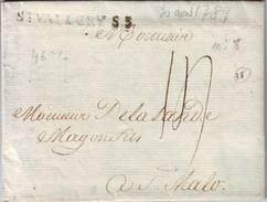Marque Ancien Regime St VALERY Sur SOMME  Sur Lettre Du 30 Avril 1789 , Lenain N° 8 , Ind 16 = 170 Euro , Pour St Malo - Marcophilie (Lettres)