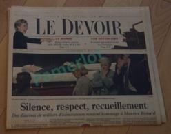 Le Devoir  - 1 Ere Pages Maurice Richard Dans Sa Tombe - Poru Le 31 Mai 2000, Hockey - Hockey - NHL