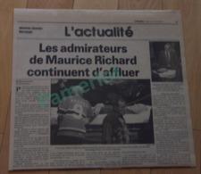 L'actualité  - Les Admirateurs De Maurice Richard Continuent D'affluer- 31 Mai 2000 Hockey - Hockey - NHL