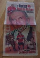 Le Nouvelliste   - Cahier Souvenir , Le Rocket Maurice Richard 1921-2000 8 Pages Hockey - Hockey - NHL