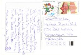 20C : Czech Republic Cartoon Clown, Building Stamps Used On Lanskronn Town View Postcard - Tschechische Republik
