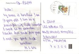 20C : Czech Republic Tulip Stamp Used On Cesky Krumlov Night View Postcard - Czech Republic