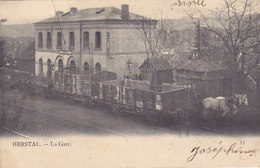 Herstal - La Gare (animée, Wagon, Chevaux, Précurseur, 1904) - Herstal