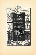 Ex Libris Ingénieur André Herry - Bois Gravé De A. Herry 1952 - 2 Gravures 10 X 13 Cm - Ex-libris
