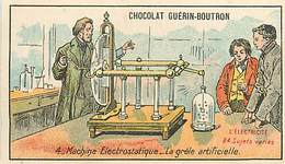 PIE-16-P - 3225 :  CHOCOLAT GUERIN-BOUTRON. MACHINE  ELECTROSTATIQUE LA GRELE ARTIFICIELLE . ELECTRICITE - Guérin-Boutron