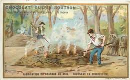 PIE-16-P - 3232 :  CHOCOLAT GUERIN-BOUTRON. LES INDUSTRIES. FABRICATION DU CHARBON DE BOIS . FOURNEAU EN COMBUSTION - Guérin-Boutron