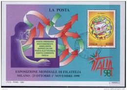 """PIA  -  ITALIE  -  1998  : Esp. Mond. Di Filatelia """"Italia  98"""" -Giornata Delle POSTE - Foglietto  -     (Yv  Bf 21 ) - 1946-.. République"""