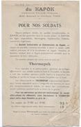 Dépliant Publicitaire à Deux Volets/ Soc. Ind. Et Com. Du KAPOK/Thermopok/Paris/Vers19101920      VPN73 - 1914-18
