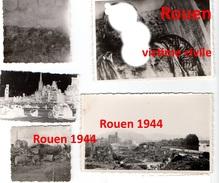 5 Photographies Originales Rouen Libération Bombardements Armée Allemande 1944 (4) - 1939-45