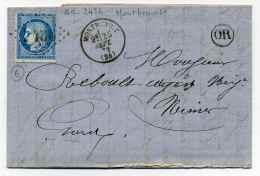 T16 MONTBENOIT + Losange GC 2436 + Origine Rurale Identifiée De MAISON DU BOIS / Dept 24 Doubs / 1872 - Marcophilie (Lettres)