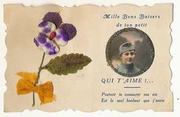 Carte En Tissu Et Soie Militaire Pailletée Pensée Silk And Material Card - Cartoline