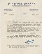 Facture Lettre (1939) - Ets POMPES GUINARD - SAINT CLOUD - Francia