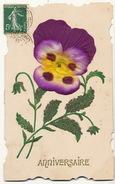 Carte En Tissu Et Soie Militaire Pailletée Pensée Silk And Material Card - Cartes Postales