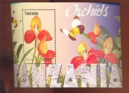 TANZANIA   2323 MINT NEVER HINGED SOUVENIR SHEET OF FLOWERS - ORCHIDS ; BUTTERFLIES - Unclassified
