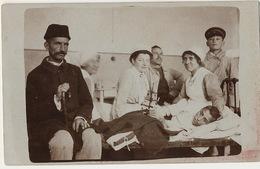 Real Photo Christmas Hospital Nurses, Young Sick Boy, WWI Greece Macedonia Bulgaria ? Christmas Tree Cellofix Postkarte - Salute