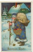 Santa Claus Pere Noel Gaufrée Robe Bleue  Embossed - Santa Claus