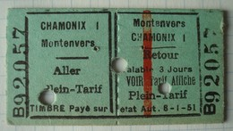 Ticket Chamonix Montenvers 12 Septembre 1959. - Chemins De Fer