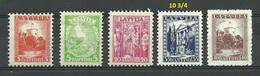 LETTLAND Latvia 1934 = 5 Werte Aus Satz Michel 232 - 237 (10 S Missing/fehlt) * - Lettland