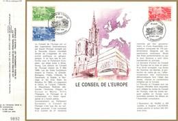 Sur Feuillet CEF , FDC 1984 Strasbourg . 3 Timbres .  LE CONSEIL DE L'EUROPE . - FDC