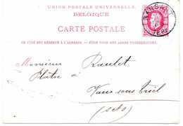 - BELGIQUE - CARTE POSTALE HOUILLERES UNIES RANSART Pour VAUX SOUS TRIEL 11.06.1881 - 10 C. Rose Léopold II - - Postcards [1871-09]
