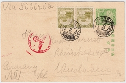 Mandschukou, 1940, Censor Stationary  Card To Germany ,commercial !  #6740 - 1932-45 Manchuria (Manchukuo)