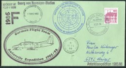 1985 B.A.T. Georg Von Neumayer Signed German Antarctic Expedition Flight Cover Penguin Rothera Halley Helicopter - British Antarctic Territory  (BAT)