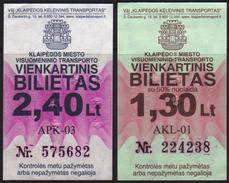 Lithuania,  Klaipeda, 2 Different Bus Tickets - Bus