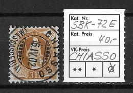 STEHENDE HELVETIA Gezähnt → SBK-72E, CHIASSO 16.IV.02 - Oblitérés