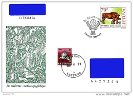 Lithuania Litauen Lituanie 1998 St. Hubert - Hunter Patron (addressed Cover) - Lithuania