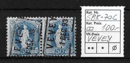 STEHENDE HELVETIA Gezähnt → SBK-70C, Bahnpost-Stempel VEVEY 1.DEC.93 ►2-fach Selten RRR◄ - Used Stamps