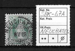 STEHENDE HELVETIA Gezähnt → SBK-67A, NEUCHATEL 8.V.85 - 1882-1906 Coat Of Arms, Standing Helvetia & UPU