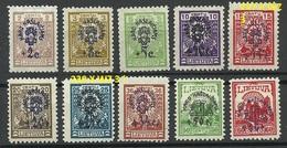 LITAUEN Lithuania 1924 Michel 224 - 233 * Incl 227 X 230 X Many Signed ! - Litauen